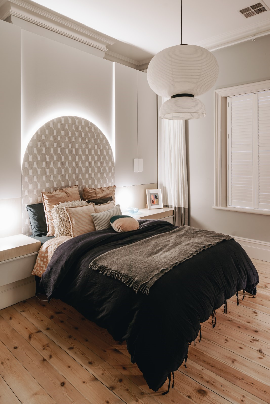 A picture containing indoor, floor, bed, wall  Description automatically generated